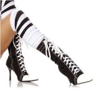 NWOT Pointy Toe Black White Heeled Sneaker Boots